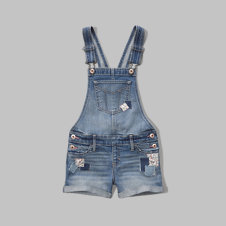 girls a&f denim shortalls