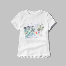 girls pleated chiffon back graphic tee