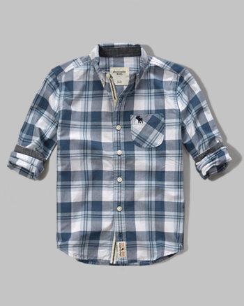 kids long sleeve poplin plaid shirt