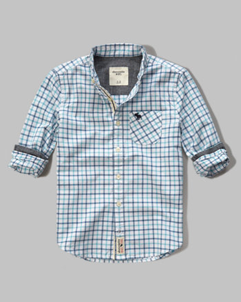 kids long sleeve poplin plaid shirt