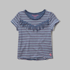 girls stripe fringe tee