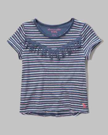 kids stripe fringe tee