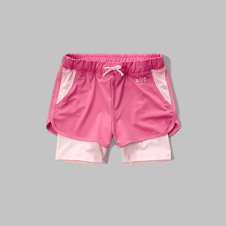 girls a&f sport layered shorts