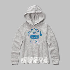 girls lace hem logo graphic hoodie