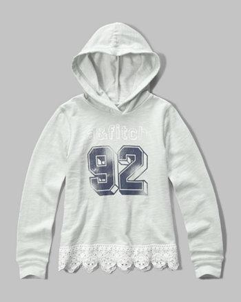 kids lace hem logo graphic hoodie