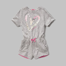 girls logo graphic fleece romper