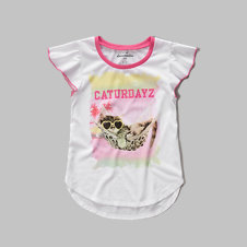 girls ruffle sleeve sleep tee