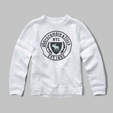girls athletic graphic crew sweatshirt