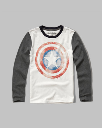 kids glow in the dark captain America graphic tee