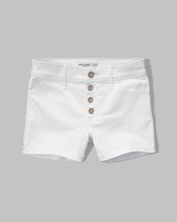 kids a&f high rise denim shorts