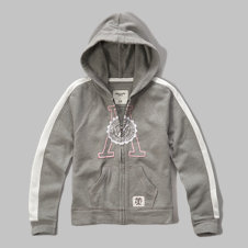 girls Striped Logo Hoodie