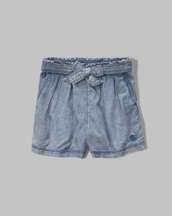 kids pleated chambray shorts