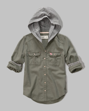 kids hooded pocket shirt