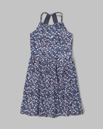 kids patterned chiffon skater dress
