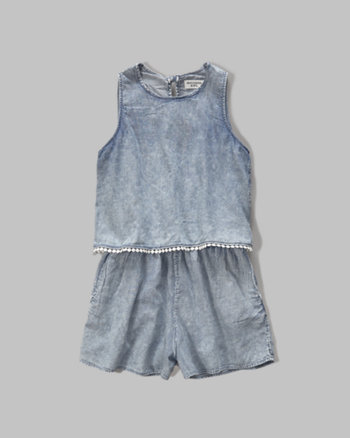 kids tiered chambray romper