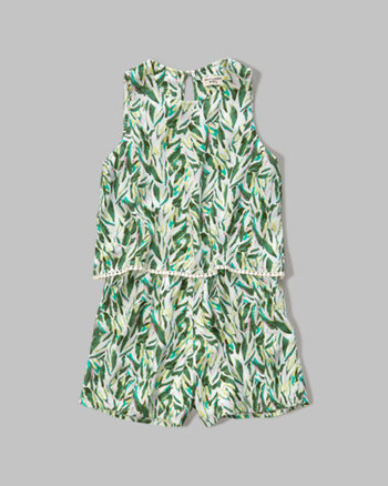 kids patterned tier romper