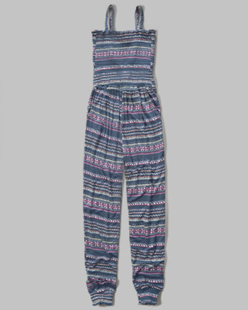kids smocked knit jumpsuit