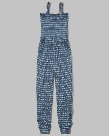 kids smocked knit jumpsuit