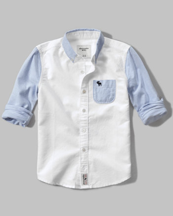 kids long sleeve colorblock oxford shirt