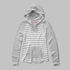 girls soft knit lace-up hoodie
