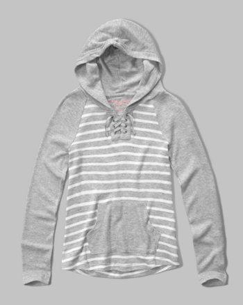 kids soft knit lace-up hoodie