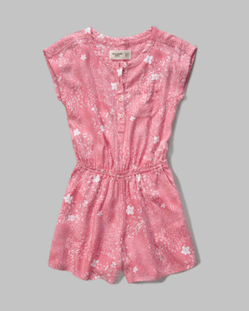 kids patterned cinch waist romper