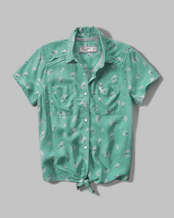 kids patterned camp shirt