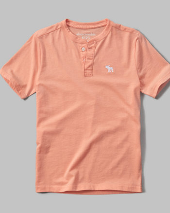 kids short sleeve solid henley