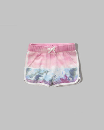 kids patterned fleece shorts