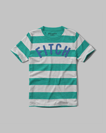 kids striped logo graphic tee