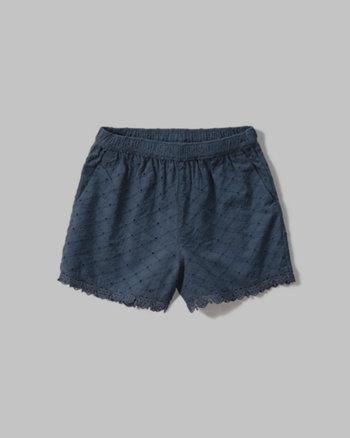 kids lace-trim eyelet shorts