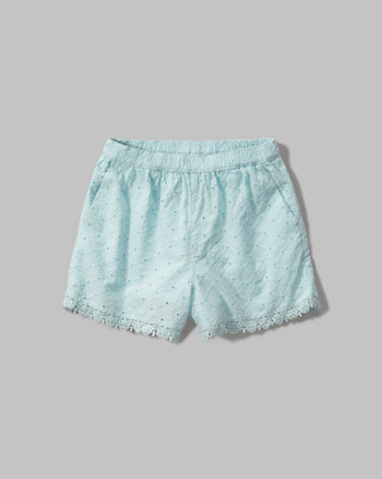 kids lace-trim eyelet shorts