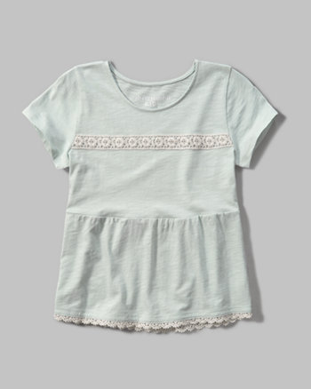 kids lace trim peplum tee