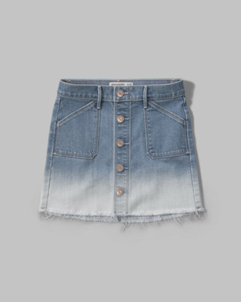 kids dip dye button denim skirt