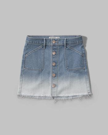 kids dip dye button denim skirt
