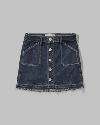 kids button denim skirt