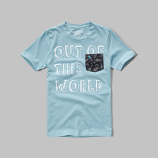 girls pattern pocket graphic tee