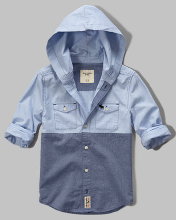 kids poplin hoodie shirt
