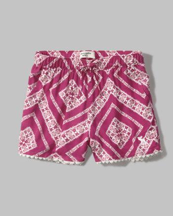 kids patterned lace hem soft shorts