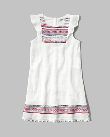 kids embroidered shift dress