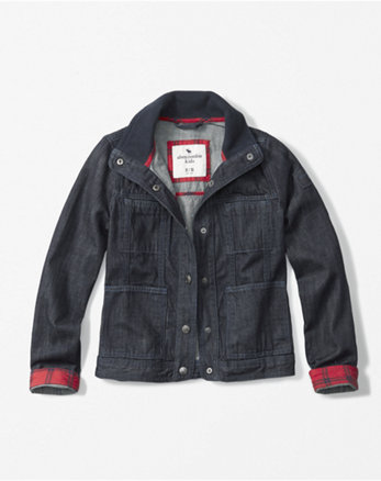 kids ribbed collar denim jacket