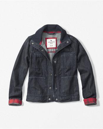 kids ribbed collar denim jacket