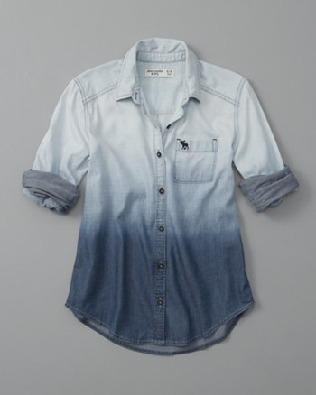kids dip-dye button-up shirt