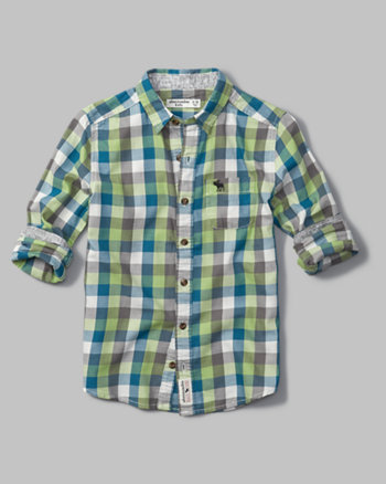 kids long sleeve pattern twill shirt