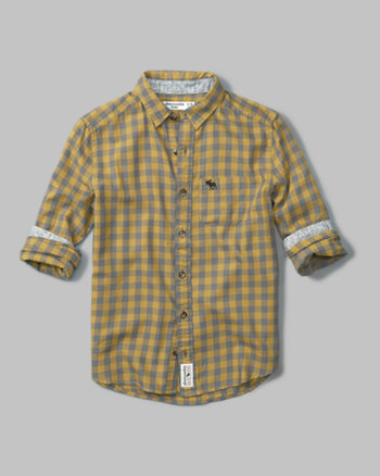 kids long sleeve pattern twill shirt