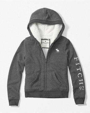 kids sherpa-lined full-zip hoodie
