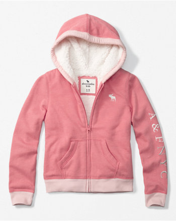 kids sherpa-lined zip-up hoodie