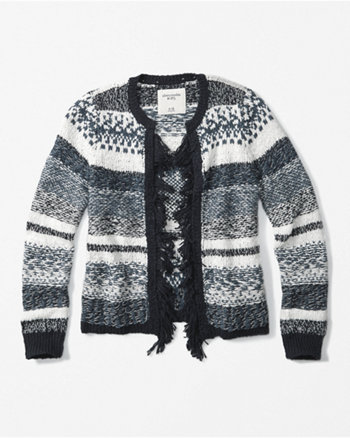 kids patterned fringe-trim cardigan