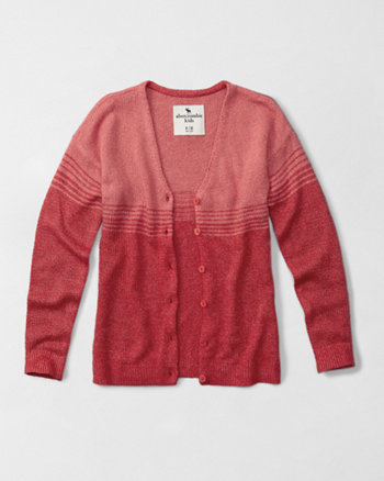 kids fuzzy color block cardigan