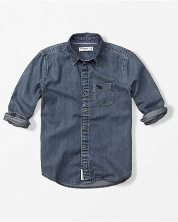kids logo chambray shirt